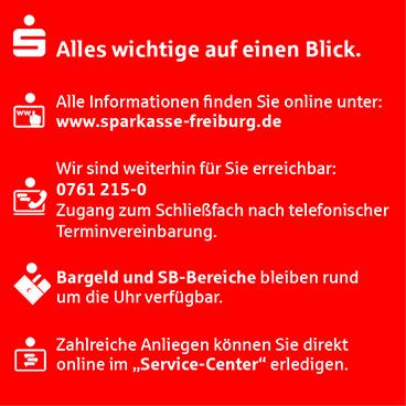 Corona-Krise? Die Sparkasse Freiburg ist für Sie da!