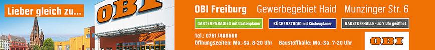 Lieber gleich zu... OBI - Ihr Baumarkt in der Munzinger Str., Freiburg mit Gartenparadies, Küchenstudio und Baustoffhandel